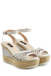 Steffen Schraut Leather Wedges With Cut Out Detail White