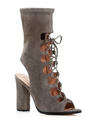 Sigerson Morrison Linda Lace Up Open Toe Booties Gray