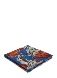 Gucci Bengal Tiger Jacquard Fringed Scarf Blue