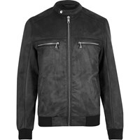 River Island Mens Grey Faux Suede Racer Jacket