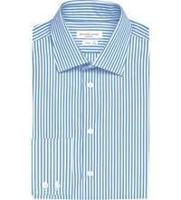 Richard James Tailored Fit Bengal Striped Cotton Shirt Mid Blue