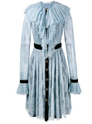 Philosophy Di Lorenzo Serafini Lace Ruffle Shirt Dress Blue