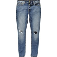 River Island Mens Mid Blue Wash Ripped Sid Skinny Jeans