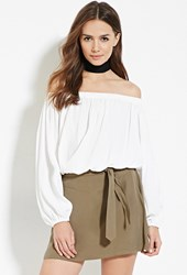 Forever 21 Contemporary Belted Mini Skirt Olive