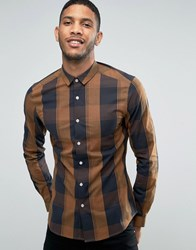 Asos Skinny Shirt In Camel Block Check Camel Tan