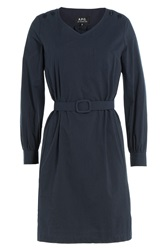 A.P.C. Striped Cotton Dress Blue