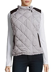 Andrew Marc New York Sleeveless Quilted Vest Silver Grey