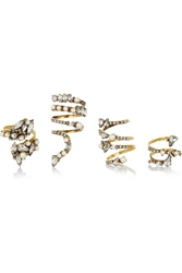 Erickson Beamon Fairy Made Set Of Four Gold Plated Swarovski Crystal And Swarovski Pearl Rings