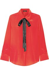 Marc Jacobs Pussy Bow Silk Crepe De Chine Shirt Red