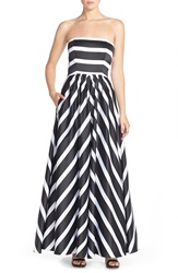 Betsy Adam Strapless Stripe Satin Ballgown Black White