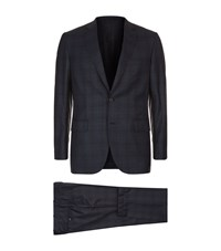 Brioni Mini Puppytooth Check Suit Male Blue
