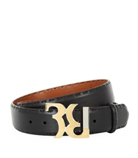 Billionaire Logo Buckle Leather Belt Black