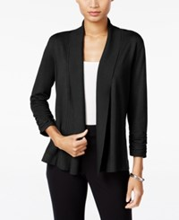 Jm Collection Ruched Open Front Cardigan Only At Macy's Deep Black