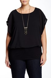 Halo Flowy Crepe Blouse Plus Size Black