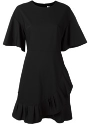 Tibi Ruffle Detail Asymmetric Dress Black