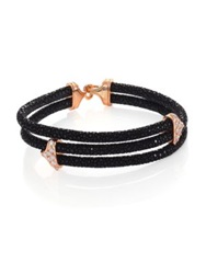 Stinghd Diamond 18K Rose Gold And Stingray Triangle Wrap Bracelet Black