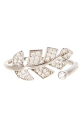 18K White Gold Plated Sterling Silver Pave Cz Leaf Ring Metallic