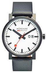 Men's Mondaine ' Black White Evo Lution Sbb' Leather Strap Watch 40Mm