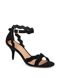 Saks Fifth Avenue Scalloped Suede Ankle Strap Sandals Black