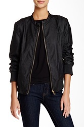 Steve Madden Faux Leather Perforated Bomber Jacket Black