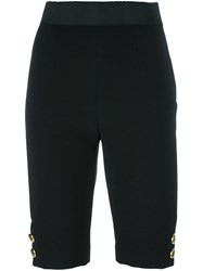 Dolce And Gabbana Gold Tone Button Skinny Shorts Black
