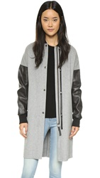 Mackage Hayden Long Bomber Jacket Light Grey