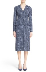 Nordstrom Caroline Issa Women's Signature And Print Stretch Silk Peplum Dress