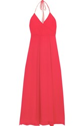 Frame Le Maxi Halter Crinkled Silk Georgette Wrap Dress Crimson