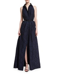 Carmen Marc Valvo Sleeveless Collared Belted Gown Black Blue