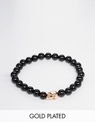 Simon Carter Onyx Beaded Bracelet With Rose Gold Skull Black