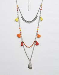Glamorous Layering Tassel Necklace Multi Silver