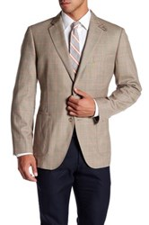 Kroon Windowpane Unstructured Two Button Notch Lapel Sports Coat Brown