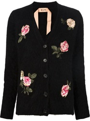 N 21 N.21 Embroidered Rose Cardigan Black