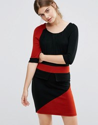 Jasmine Colourblocked Peplum Pencil Dress Black