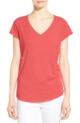 Women's Eileen Fisher Organic Cotton V Neck Short Sleeve Tee Sunset