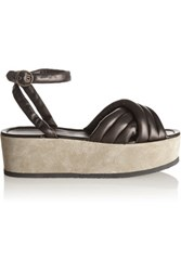 Isabel Marant Rowland Padded Leather And Suede Platform Sandals Black
