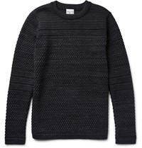 S.N.S. Herning Torso Textured Virgin And Merino Wool Blend Sweater Black