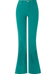 Amapa Flared Velvet Trousers Green
