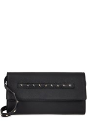 Red Valentino Black Star Studded Leather Clutch