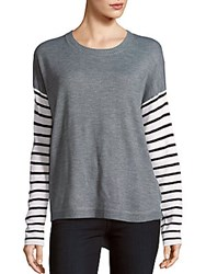 French Connection Roundneck Striped Sleeve Sweater Grey White