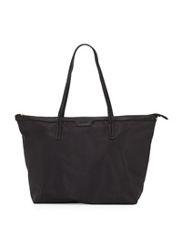 Neiman Marcus Miley Nylon Zip Top Tote Bag Black