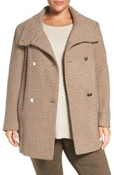 Calvin Klein Plus Size Women's Textured Trench Coat Oatmeal Basketweave