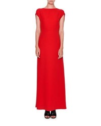 Valentino Sleeveless Cady Cowl Back Gown Red