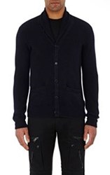 Ralph Lauren Purple Label Waffle Knit Shawl Cardigan Blue