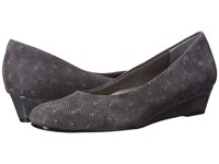 Trotters Lauren Dark Grey 3D Patent Suede Leather Women's Slip On Dress Shoes Gray