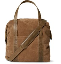 Maison Martin Margiela Leather Trimmed Suede Tote Bag Brown