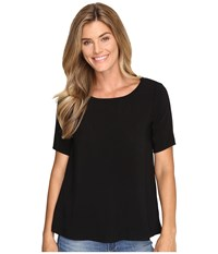 Allen Allen 1 2 Sleeve High Low Crew Black Women's Short Sleeve Pullover