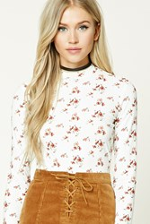 Forever 21 Floral Print Ribbed Knit Top Cream Rust