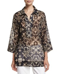 Escada 3 4 Sleeve Printed Tunic Black