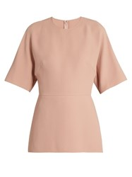 Valentino Short Sleeved Silk Cady Blouse Light Pink